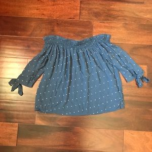 Off the shoulder polka dot top